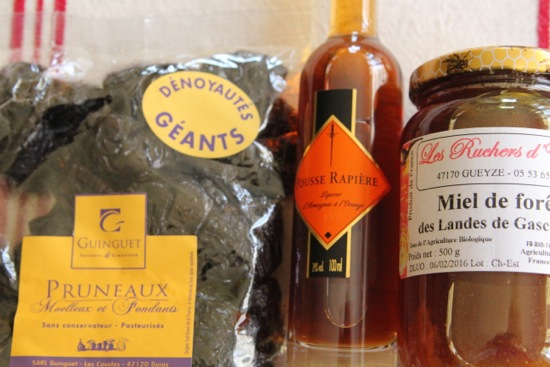 prunes and liqueur and honey