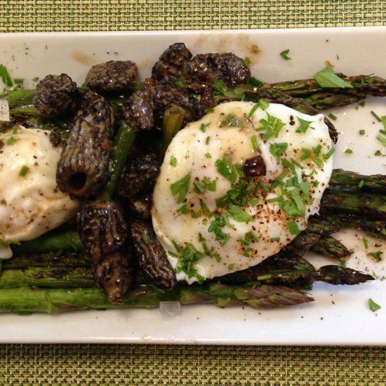 eggs morels asparagus