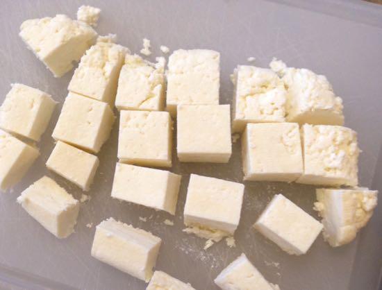 cubed paneer cheese