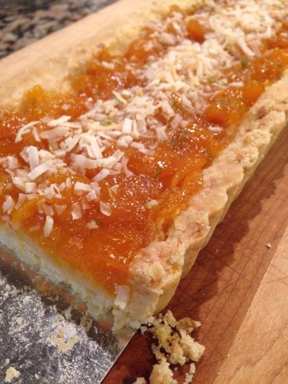 mango jam tart with coconut